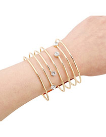 Fashion Gold Color Hollow Out Multilayer Decorated Opening Design