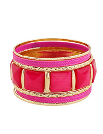 Elegant Red Square Gemstone Decorated Multilayer Design Alloy Fashion Bangles