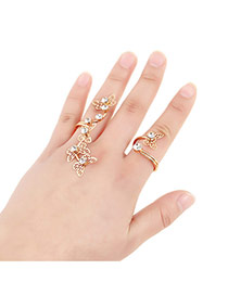 Sweet Gold Color Hollow Out Butterfly Shape Decorated Simple Design Alloy Korean Rings
