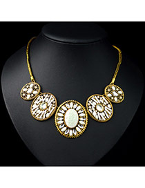 Vintage White Round Shape Pendant Decorated Simple Design Alloy Bib Necklaces