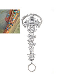 Exaggerate White Geometric Dimond Decorated Simple Design Alloy Fashion Anklets