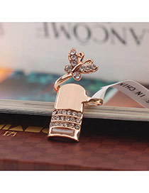 Personalized Gold Color Butterfly&diamond Decorated Simple Design Alloy Korean Rings