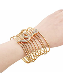 Exaggerate Gold Color Snake Shape Decorated Multilayer Design Alloy Fashion Bangles