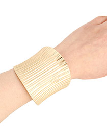 Exaggerate Gold Color Metal Strip Shape Decorated Opening Design