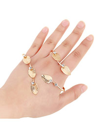 Sweet Gold Color Leaf Shape Decorated Simple Design Alloy Fashion Bangles