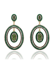 Elegant Green Full Gemstone Decorated Hollow Out Oval Design Alloy Stud Earrings