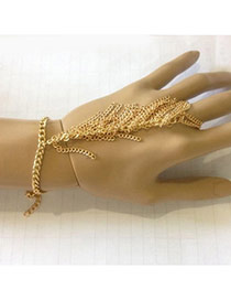Exaggerate Gold Color Metal Chain Weaving Decorated Simple Design Alloy Korean Fashion Bracelet