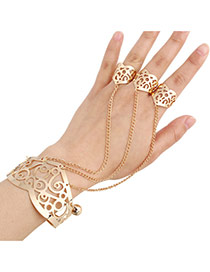 Elegant Gold Color Hollow Out Flower Decorated Simple Design Alloy Fashion Bangles