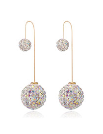 Luxury Multi-color Full Diamond Decorated Ball Shape Design Cz Diamond Korean Earrings