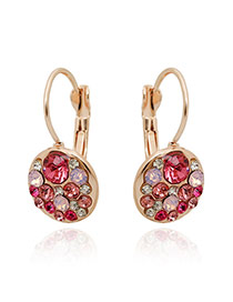 Luxury Plum Red Diamond Decorated Round Shape Design Alloy Korean Earrings