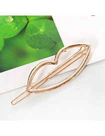 Elegant Gold Color Lip Shape Decorated Hollow Out Design Alloy Hair clip hair claw