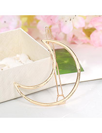 Elegant Gold Color Moon Shape Decorated Hollow Out Design Alloy Hair clip hair claw