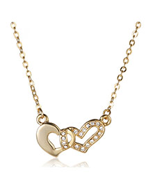 Fashion Gold Color Diamond Decorated Double Heart Shape Design Alloy Bib Necklaces