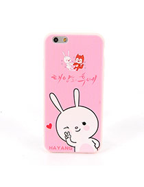 Fashion Pink Big Rabbit Pattern Decorated Dots Descendants Of The Sun Silicone Iphone 6