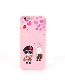 Fashion Pink Monkey&rabbit Pattern Decorated Dots Descendants Of The Sun Silicone Iphone 6