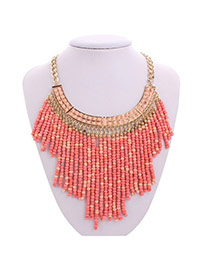Exaggerate Pink Beads Tassel Pendant Decorated Collar Design