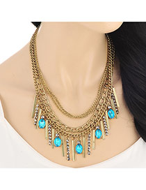 Exaggerated Gold Color Rectangle Shape Diamond Tassel Decorated Multilayer Design