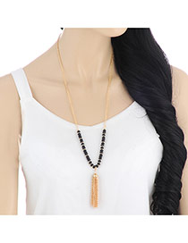 Fashion Black Tassel Pendant Decorated Beads Design