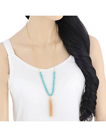Fashion Blue Tassel Pendant Decorated Beads Design