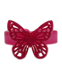 Fashion Rose Red Hollow Out Butterfly Decorated Opening Design Acrylic Korean Rings