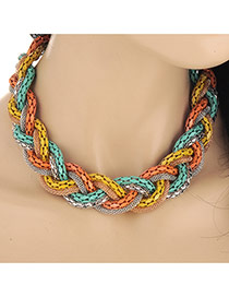 Exaggerated Yellow&light Green Snake Shape Decorated Short Collar Design