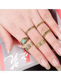 Vintage Gold Color Flower Pattern Decorated Simple Design(6pcs) Alloy Korean Rings
