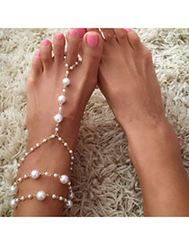 Fashion White Pearl Decorated Mutlilayer Design Alloy Fashion Anklets
