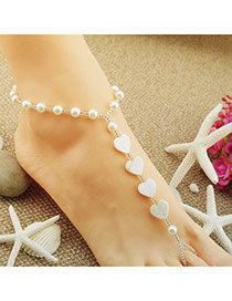 Fashion White Pearl Decorated Heart Shape Design Alloy Fashion Anklets