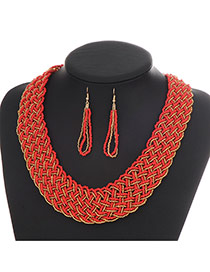 Fashion Red Hollow Out Decorated Hand-woven Collar Design