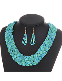 Fashion Light Blue Pure Color Decorated Hand-woven Collar Design Beads Bib Necklaces