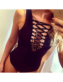 Sexy Black Pure Color Decorated One Piece Design Chinlon Monokini
