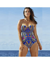 Sexy Multi-color Geometric Shape Pattern Decorated One Piece Design Chinlon Monokini
