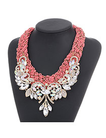 Fashion Pink Diamond Leaf Decorated Hand-woven Collar Design Alloy Beaded Necklaces