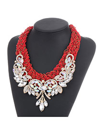 Fashion Red Diamond Leaf Decorated Hand-woven Collar Design Alloy Beaded Necklaces