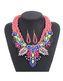 Fashion Pink Diamond Decorated Hand-woven Collar Design Alloy Beaded Necklaces