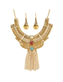 Exaggerated Gold Color Metal Chain Weaving&tassel Decorated Collar Design