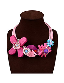 Elegant Pink Flower Shape Pendandt Decorated Mutliayer Design Wooden Bib Necklaces