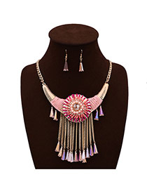 Exaggerated Pink Big Flower Shape&tassel Pendant Decorated Simple Design Crystal Jewelry Sets