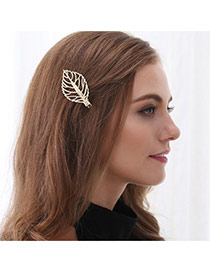 Fashion Gold Color Leaf Shape Decorated Hollow Out Design