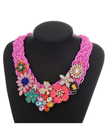 Vintage Plum Red Flower Shape Decorated Hand-woven Collar Design