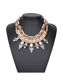 Vintage Beige Triangle Pendant Decorated Multilayer Design Alloy Bib Necklaces