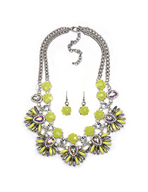Exaggerated Yellow Fan Shape Flower Pendant Decorated Double Layer Design