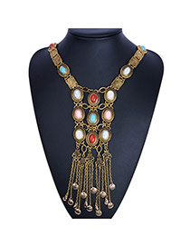 Exaggerated Antique Gold Oval Gemstone&tasel Pendant Decorated Collar Design Alloy Bib Necklaces