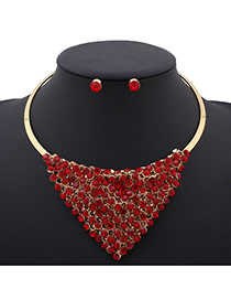 Exaggerated Red Triangle Shape Decorated Simple Design