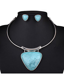 Exaggerated Blue Triangle Gemstone Pendant Decorated Neck Strap Design