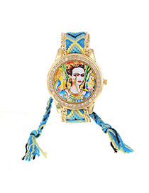 Vintage Blue Lady Pattern Decorated Hand-woven Strap Design
