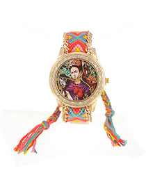 Vintage Red Monkey&lady Pattern Decorated Hand-woven Strap Design