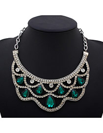 Fashion Green Water Drop Shape Diamond Decorated Hollow Out Design Alloy Bib Necklaces