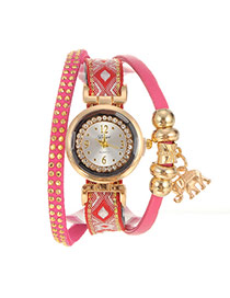Personalized Plum Red Elephant Pendant Decorated Multi-layer Design Fabric Ladies Watches