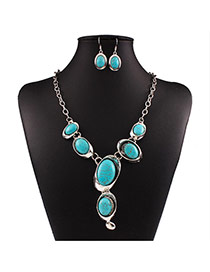 Bohemia Green Oval Shape Gemstone Decorated Short Chain Design Alloy Jewelry Sets